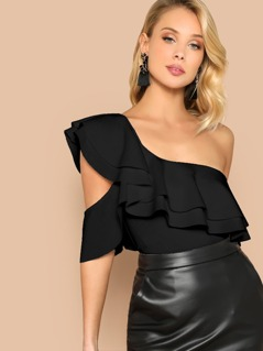 Exaggerate Ruffle Yoke Asymmetrical Shoulder Bodysuit