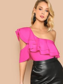 Neon Pink Layered Ruffle Trim Bodysuit