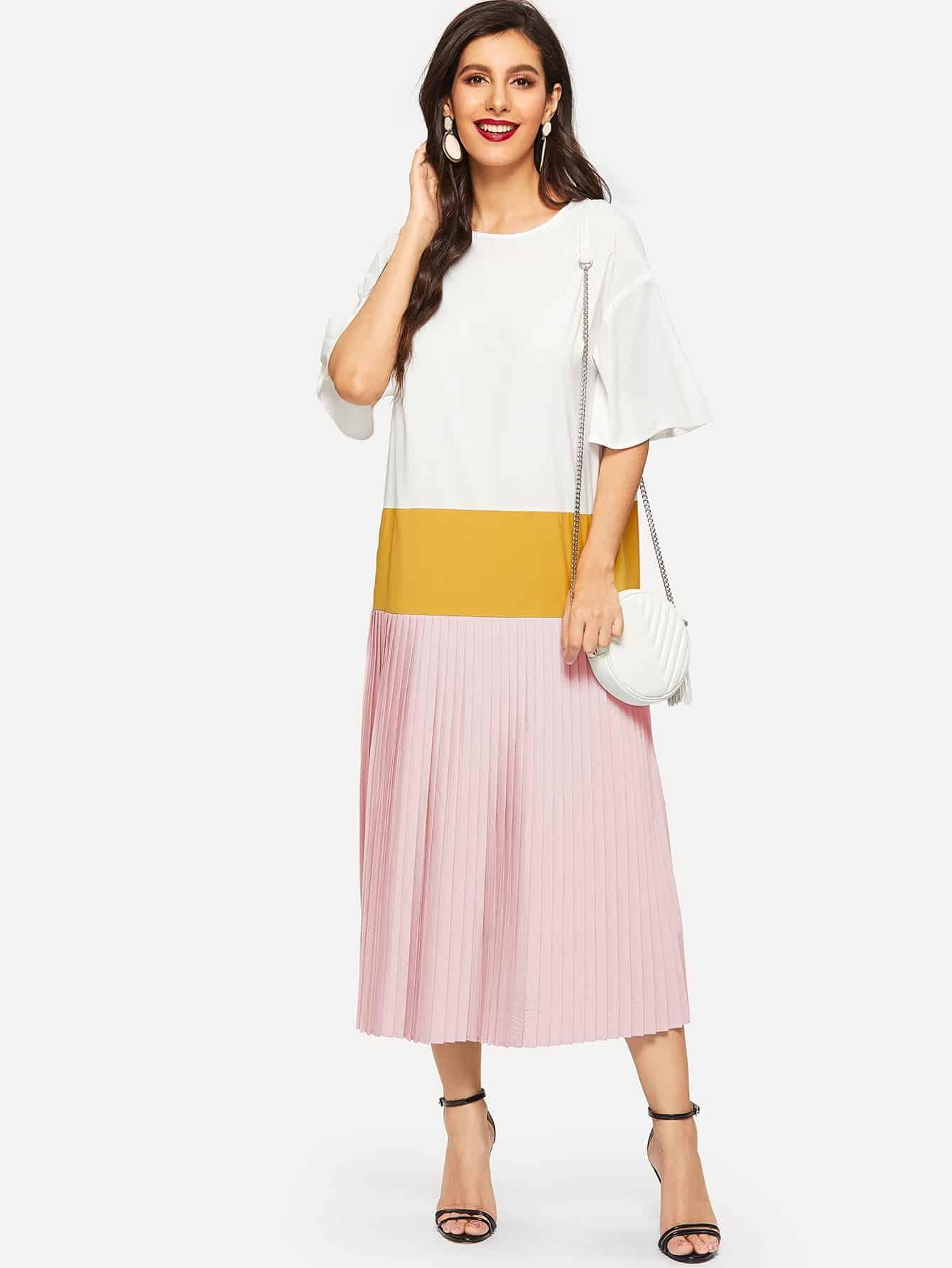 Фото - Кроить и шить платье в складку с оригинальным рукавом от SheIn цвет многоцветный