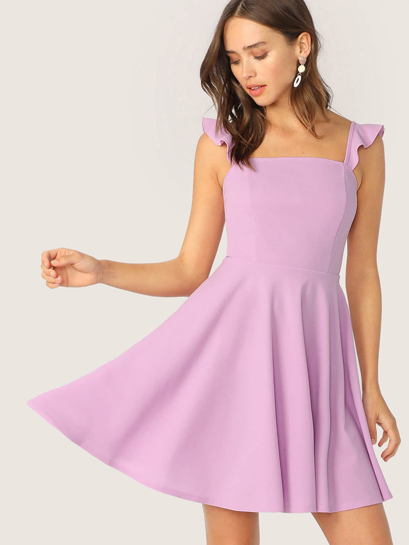 Фото - Платье с оборками на бретелях от SheIn цвет фиолетовые