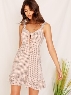 Frill Strap Tie Front Cut Out Dress