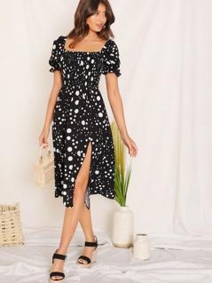 Dot Print Shirred Bodice Split Dress
