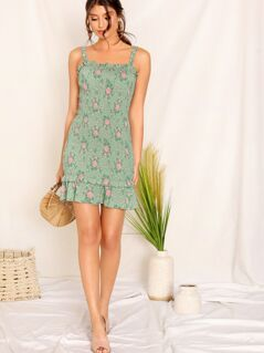 Floral Print Frill Trim Shirred Ruffle Hem Dress