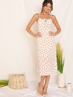 Tie Front Confetti Heart Print Cami Dress