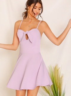 Cutout Tie Front Flare Slip Dress