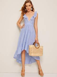 Lace Trim Ruffle Dip Hem Crisscross Backless Striped Dress
