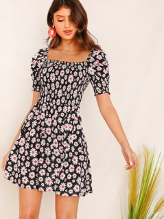 Daisy Floral Frill Trim Shirred Floral Dress