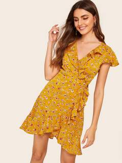 Ditsy Floral Ruffle Trim Surplice Neck Knot Dress