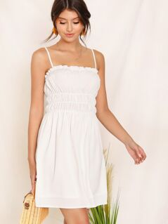 Frill Trim Elastic Waist Cami Dress