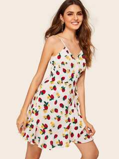 Strawberry and Floral Print Wrap Cami Sundress