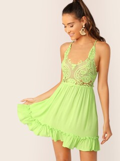Neon Lime Tied Crisscross Back Guipure Lace Bodice Dress