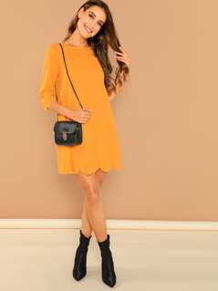 Neon Orange Scallop Edge Dress