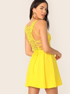 Neon Yellow Lace Up Guipure Lace Back Cami Sundress