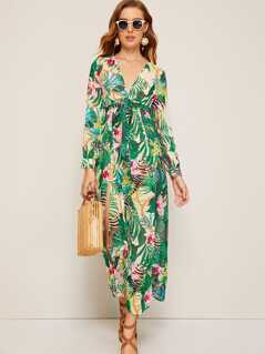 Tropical Print Plunging Neck High Split Dress
