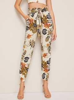Plants Print Paperbag Waist Belted Elastic Hem Pants