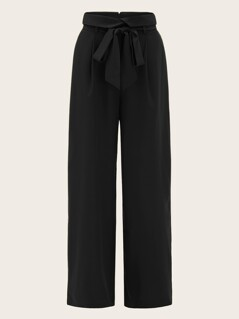 Foldover Waist Self Belted Palazzo Pants