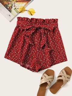 Paperbag Waist Slant Pocket Ditsy Floral Shorts