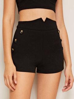 Notch Wide Waistband Button Detail Shorts