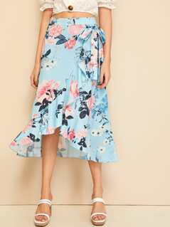 Floral Print Wide Waistband Wrap Asymmetrical Skirt