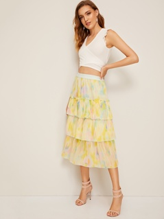 Tie Dye Layered Ruffle Skirt