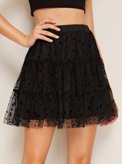Elastic Waist Dobby Mesh Overlay Skirt
