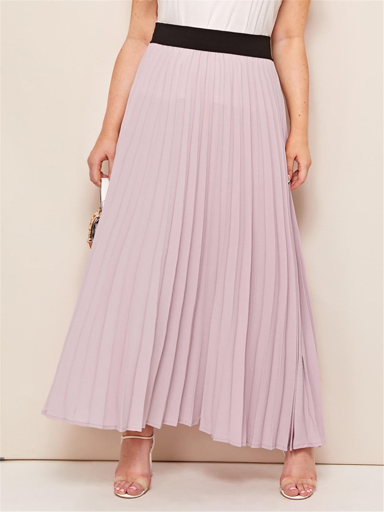 Фото - Юбку со складкой контрастным поясом размера плюс от SheIn цвет розовые