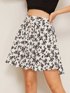 Single Breasted Ditsy Floral Skirt