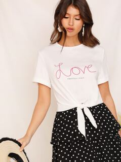 Roll-up Cuff Tie Front Letter Print Top
