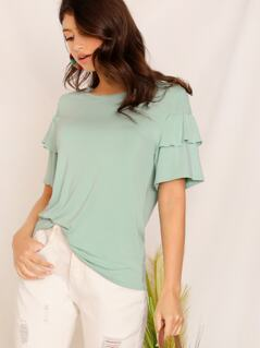 Shirred Detail Layered Sleeve Top