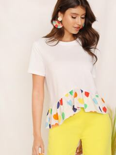 Colorful Heart Print Flippy Hem Top