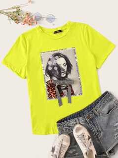 Neon Green Figure Print Sequin Detail Tee