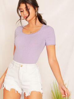 Lace Trim Slim Fitted Rib-knit Tee