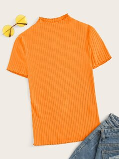 Neon Orange Lettuce Trim Rib-knit Top