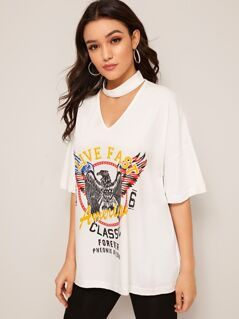 Drop Shoulder Choker Neck Graphic Print Tee