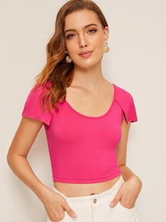 Neon Pink Raglan Cloak Sleeve Crop Tee