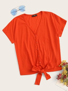 Neon Orange Button Front Knot Hem Top