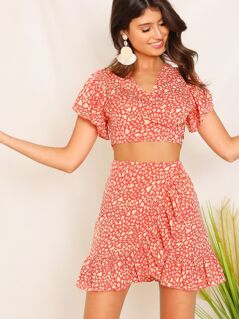 Tie Back Confetti Heart Print Top & Wrap Skirt Set