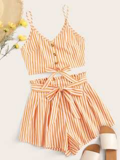 Striped Button Front Tie Front Top & Belted Shorts Set
