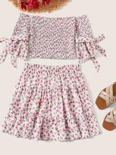 Tie Cuff Shirred Bardot Ditsy Floral Top & Skirt Set