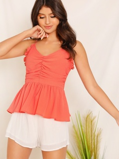 Ruffle Trim Ruched Detail Shirred Peplum Cami Top