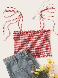 Tie Strap Frilled Trim Shirred Gingham Top