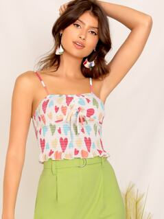 Tie Front Heart Print Shirred Cami Top