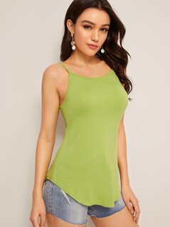 Neon Lime Curved Hem Cami Top