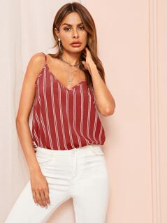 Double-V Neck Striped Cami Top