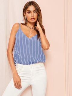 Double V Striped Cami Top