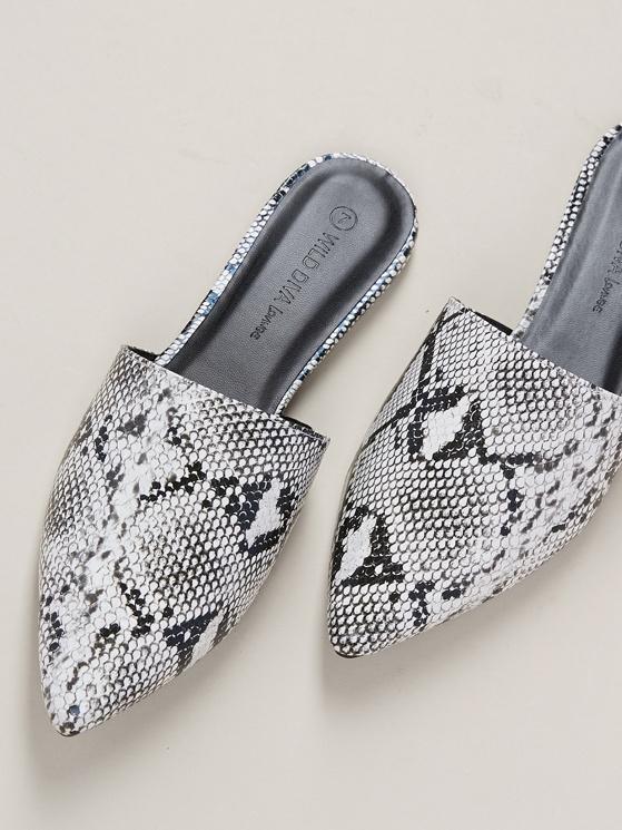 83ba0ee348f3e Pointy Toe Snakeskin Flat Slide Mules