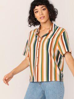 Button Front V-Neck Short Sleeve Stripe Shirt