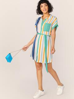 Button Front Waist Tie Stripe Shirt Dress