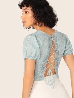 Lace Trim Lace Up Back Polka Dot Short Sleeve Top