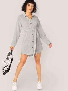 Button Up Waist Tie Long Sleeve Stripe Shirt Dress